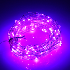 66Ft 20M 200 Leds Outdoor Christmas Fairy Lights Warm White Silver Wire Led Starry Light String Lights Adapter Purple For Sale