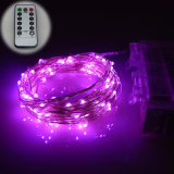 Coupon 6M 60Leds Waterproof Led Battery Powered String Lights Silver Wire 8 Modes Led Starry Light Fairy Lights With Remote Controller Pink