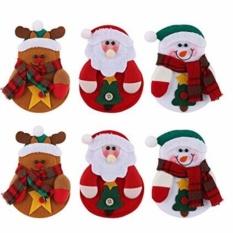 6Pcs Christmas Tableware Bags Cartoon Knifes Folks Bag Snowman Santa Claus Elk Holders Pockets Table Decorations Bags Set for Christmas Dinner Party Supplies - intl