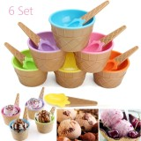 6Pcs Kids Plastic Ice Cream Bowls Spoons Set Durable Dessert Cup Home Party Intl Review