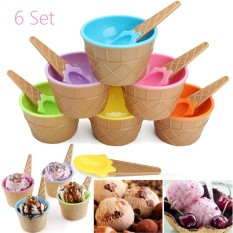 Sale 6Pcs Kids Plastic Ice Cream Bowls Spoons Set Durable Dessert Cup Home Party Intl Online China