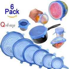 Review 【6Pcs】Q Shop Universal Silicone Saran Wrap Food Bowl Pot Lid Multi Size Reusable Containers Covers For Pots Cans Bowls Mugs And Mason Jars Preserve Food Dishwasher And Freezer Safe Intl Slgol On China