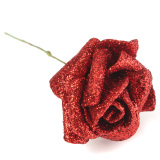 Cheapest 7 Foam Roses With Glitter Powder Flowers Bride Bouquet Red Online