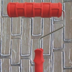 Price 7 Inch Diy Rubber Empaistic Pattern Painting Roller With Handle Grip For Wall Decration Red On China