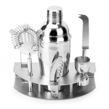 7 Pcs Stainless Steel 550Ml Cocktail Shaker Set Jigger Bottle Opener Tong Barware Bartender Tools With Storage Stand For Bars Home Making Mixed Drinks Intl Lowest Price