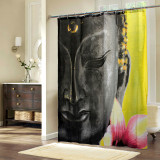 Best Reviews Of 72 X78 Retro Polyester Shower Curtains Buddha Waterproof Fabric Curtain Hooks