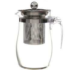 Discount 750Ml Heat Resisting Clear Glass Teapot Stainless Steel Infuser Flower Tea Pot Export Oem China