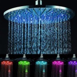 Compare Price 8 Inch Temperature Control Rgb Led Automatic Light Stainless Steel Rain Shower Head Bathroom Intl On China