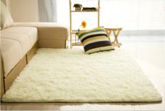 80*120cm Fluffy Shaggy Anti-skid Carpets Rugs Yoga Living Room Floor Mat/Cover Creamy White