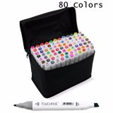 Buy 80 Colors Sets Touch Five Alcohol Graphic Art Twin Tip Pen Markers Broad Fine Point(White) Intl Oem Cheap