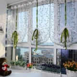 Best Reviews Of 80 200Cm 1 Pcs Floral Pastoral Tulle Window Roman Curtain Embroidered Sheer For Kitchen Living Room Bedroom Window Curtain Screening Intl