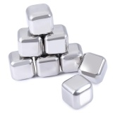 Promo 8Pcs Stainless Steel Reusable Cooler Stone Whiskey Rock Ice Cube Intl