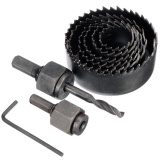 8Pcs Wood Alloy Iron Cutter Bimetal Hole Saw Drill Bit Kit W Hex Wrench Black Intl Best Price