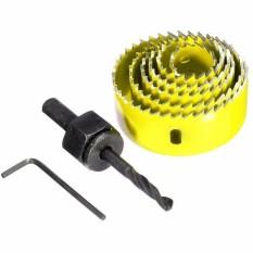 Latest 8Pcs Wood Alloy Iron Cutter Bimetal Hole Saw Drill Bit Kit W Hex Wrench Yellow