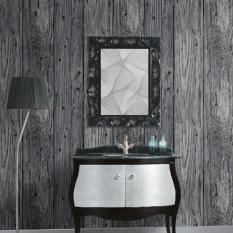 Cheap 9 5M 3D Wood Timber Theme Wallpaper Roll Rustic Dark Grey Wood Panel Pattern Home Decor Intl