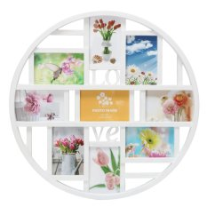 9 Grid Circular Collage Photo Frame Holds 6x4 Pictures Wall Hanging Decoration