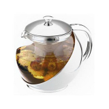 Review 900Ml Heat Resisting Clear Glass Teapot Stainless Steel Infuser Flower Tea Pot On China