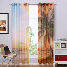 Sale A Pair Of 2 Pieces Landscape Sheer Window Curtains Coconut And Tree Blue Sea For Living Room 140Cm X240Cm Intl China Cheap