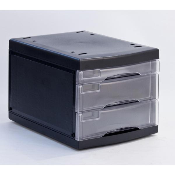 Metro 3473 - A4 Multi Drawer Storage System W/O Lock  (1pc Small Tray +2pc Big Tray) C/W P.Box (CR/BK)