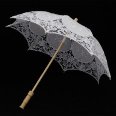 AC White Vintage Lace Parasol Romantic Wedding Umbrella Costume Accessory for Wedding Bride Bridal, 23-Inch - intl