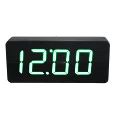 Great Deal Acryl Spiegel Wooden Holz Digital Led Wecker Clock Uhr Zeit Kalender Thermometer