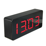 Wholesale Acrylic Black Wood Digital Red Led Alarm Clock Time Calendar Thermometer Aa New