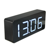 Compare Acrylic Mirror Wooden Digital White Led Alarm Desk Clock Calendar Thermometer