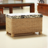 Best Price Straw Knitted Solid Wooden Stool Container