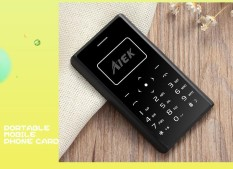 Aiek X7 0.96 Inch 320mAh LED Torch 4.8mm Thickness Mini Card Mobile Phone Black - intl