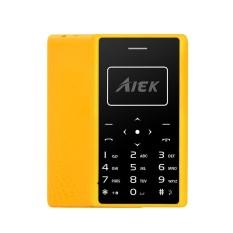 Aiek X7 0.96 Inch 320mAh LED Torch 4.8mm Thickness Mini Card Mobile Phone Yellow - intl