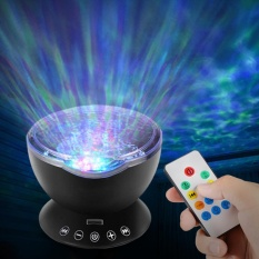 AKDSteel Ocean Wave Music Projector Night Light Remote Control Lamp with Built-in Mini Music Player 12 LED Beads & 7 Colorful Lights for Kids Adults Bedroom Living Room - intl