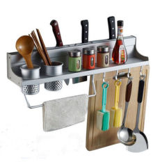 Top Rated Aluminum Kitchen Accessories Rack Set Wall Mounted Kitchen Storage Holders Racks With Double Cup 8 Hooks