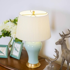 American Copper Ceramic Pastoral Style Ceramic Table Lamp Desk Lamp Bedroom Beside Lamp With Fabric Shade Crazing Glaze Process Pure Hand Painted T053 Model Energy Class A Intl Best Buy