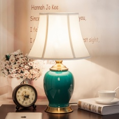 American Copper Ceramic Pastoral Style Ceramic Dimming Table Lamp Desk Lamp Bedroom Beside Lamp with Fabric Shade Five model choice 33*50cm (Energy Class A++) - intl
