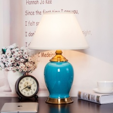 Compare American Copper Ceramic Pastoral Style Ceramic Table Lamp Desk Lamp Bedroom Beside Lamp With Fabric Shade Five Model Choice 33 50Cm Energy Class A Intl