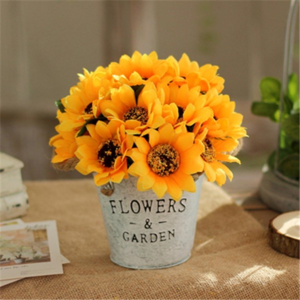 American wrought iron flower artificial flowers decorative flowers simulation flower sets dried flowers living room decorations table pots Decoration