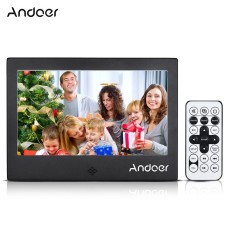Andoer 7Digital Photo Frame 720P Video/Music/Calendar/Clock/TXT Player 1024 * 600 Resolution Metal Frame with Remote Control - intl