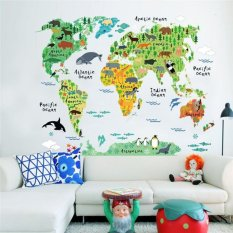 Animals World Map Wall Stickers Home Decor 60X90Cm Intl Cheap