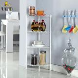 Review Anti Rust Height Adjustable Carbon Steel Storage Rack Corner Rack White Color On Singapore