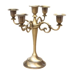 Antique 5-Arms Candle Holder Stand Candlestick Candelabra for Home Hotel Wedding Party Bar Bronze - intl