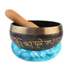 Antique Tibetan Singing Bowl with Striker Mallet and Random Color Cushion Pad Meditation Set For Chakra Healing Prayer Yoga Mindfulness Gift 8.5cm Bowl