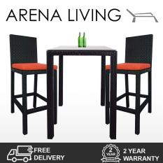 Discount Arena Living Midas 2 Chair Bar Set Orange Cushion
