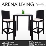 Arena Living Midas 2 Chair Bar Set White Cushion Sale