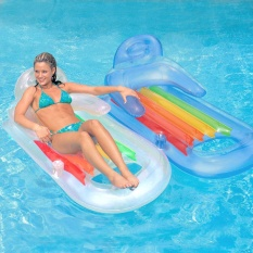 Low Cost Armrests Luxury Flats Inflatable Floating Row Water Floating Bed Swimming Circle *d*lt Inflatable Pools (Random Color) Intl