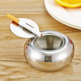 Sale Ashtray Stainless Steel Modern Tabletop Ashtray With Lid Cigarette Ashtray For Indoor Outdoor Use Ash Holder For Smokers Desktop Smoking Ash Tray For Home Office Decoration Silver Intl Oem