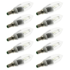 Aukur 10PCS E14 25LED 2835 SMD Bullet Shape Candle LED Light Bulbs CA35 5W 450LM Lumen Cool White Decorative Light Bulbs AC 220V Silver Shell - intl