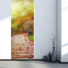 Great Deal Autumn Forest Sun Shine 3D Golden Door Wall Sticker Home Decoration Decal Mural Intl