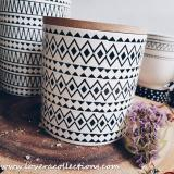 Sale Avery Black White Tribal Medium Canister Jar Lovera Collections Wholesaler