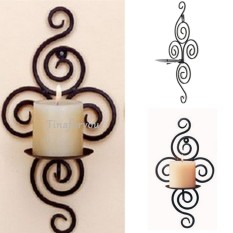 Balck Candle Holder Swirling Iron Hanging Wall Sconce Candle Holder - intl