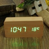 Price Comparisons Bamboo Wooden Digital Green Led Alarm Modern Clock Calendar Thermometer Usb Aaa Export